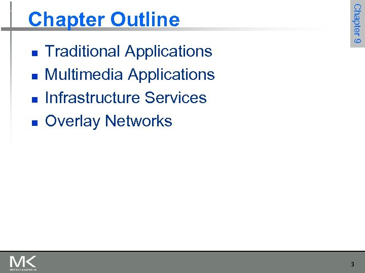 n n Traditional Applications Multimedia Applications Infrastructure Services Overlay Networks Chapter 9 Chapter Outline