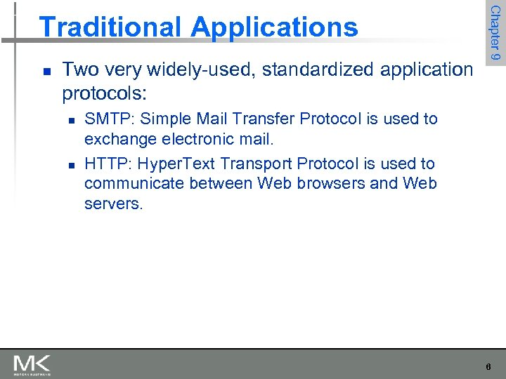 n Two very widely-used, standardized application protocols: n n Chapter 9 Traditional Applications SMTP: