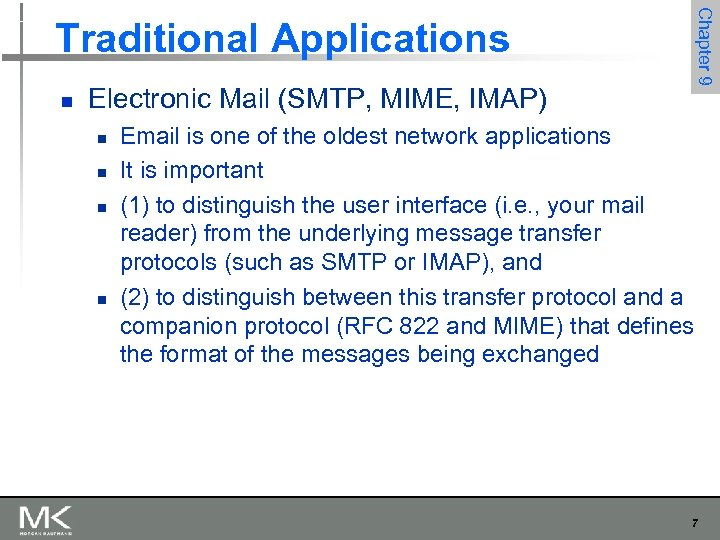 Chapter 9 Traditional Applications n Electronic Mail (SMTP, MIME, IMAP) n n Email is