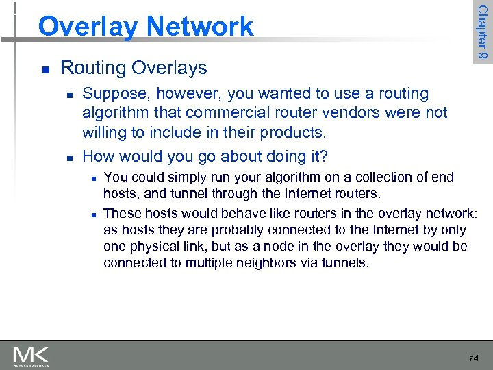 n Routing Overlays n n Chapter 9 Overlay Network Suppose, however, you wanted to
