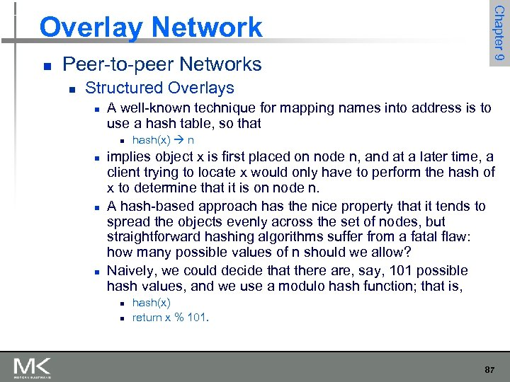 Chapter 9 Overlay Network n Peer-to-peer Networks n Structured Overlays n A well-known technique
