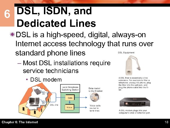 6 DSL, ISDN, and Dedicated Lines ïDSL is a high-speed, digital, always-on Internet access