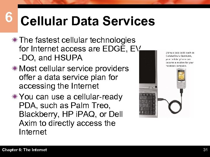 6 Cellular Data Services ï The fastest cellular technologies for Internet access are EDGE,
