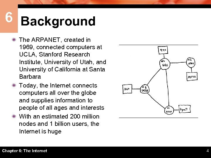 6 Background ï The ARPANET, created in 1969, connected computers at UCLA, Stanford Research