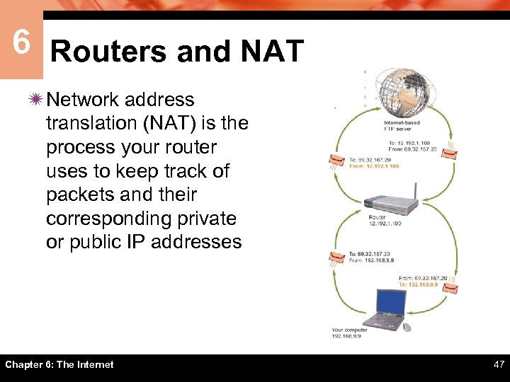 6 Routers and NAT ï Network address translation (NAT) is the process your router