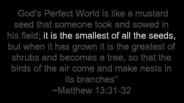 """""""God's Perfect World is like a mustard seed that someone took and sowed in"""