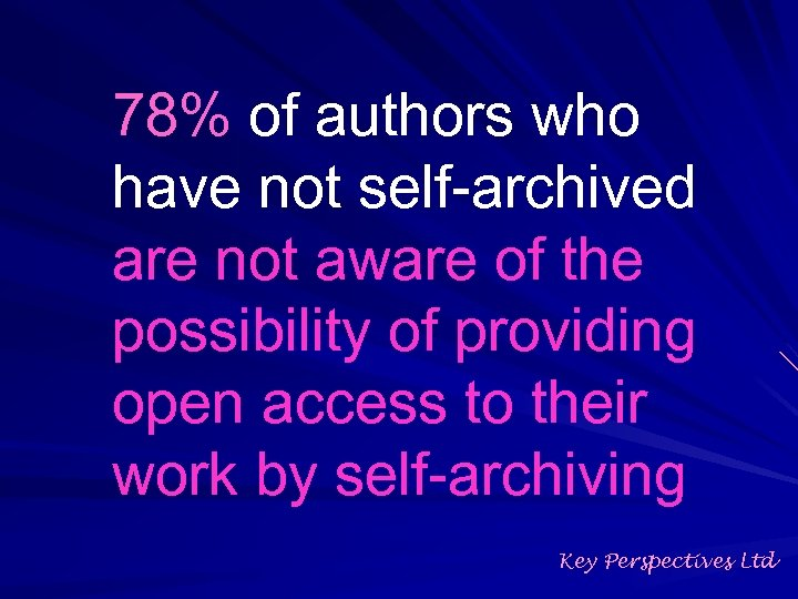 78% of authors who have not self-archived are not aware of the possibility of