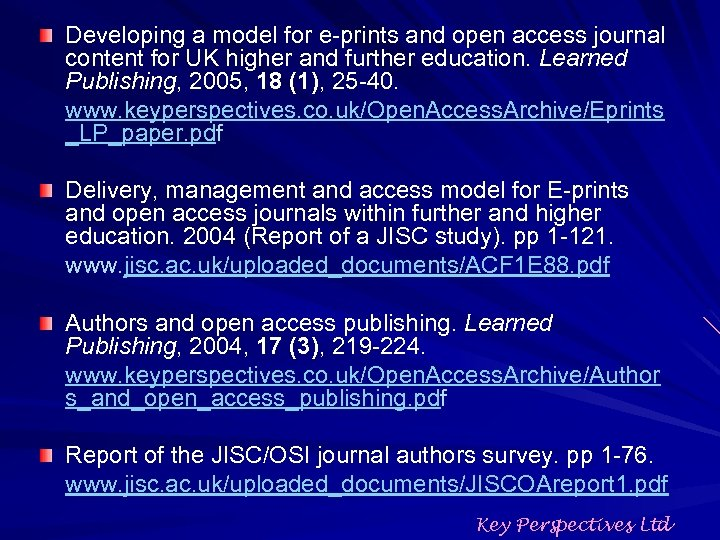 Developing a model for e-prints and open access journal content for UK higher and