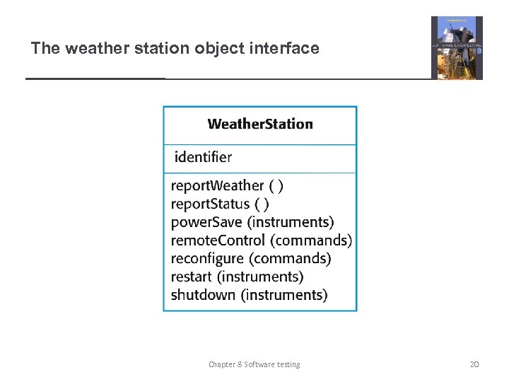 The weather station object interface Chapter 8 Software testing 20