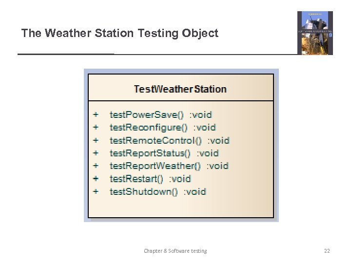 The Weather Station Testing Object Chapter 8 Software testing 22