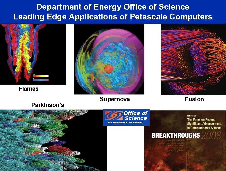 Department of Energy Office of Science Leading Edge Applications of Petascale Computers Flames Parkinson's