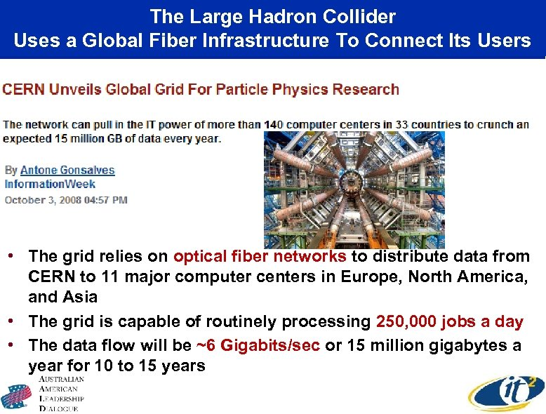 The Large Hadron Collider Uses a Global Fiber Infrastructure To Connect Its Users •