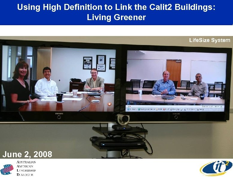 Using High Definition to Link the Calit 2 Buildings: Living Greener Life. Size System