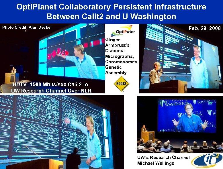 Opt. IPlanet Collaboratory Persistent Infrastructure Between Calit 2 and U Washington Photo Credit: Alan