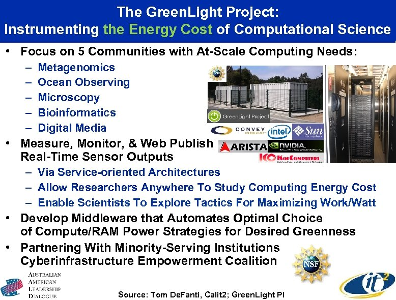 The Green. Light Project: Instrumenting the Energy Cost of Computational Science • Focus on