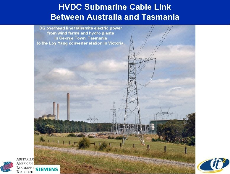 HVDC Submarine Cable Link Between Australia and Tasmania DC overhead line transmits electric power