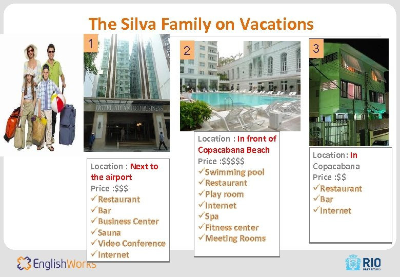 The Silva Family on Vacations 1 Location : Next to the airport Price :