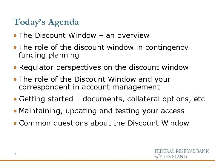 The Role of the Discount Window in Contingency