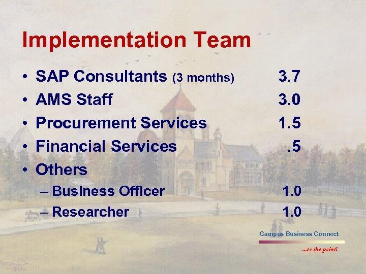 Implementation Team • • • SAP Consultants (3 months) AMS Staff Procurement Services Financial