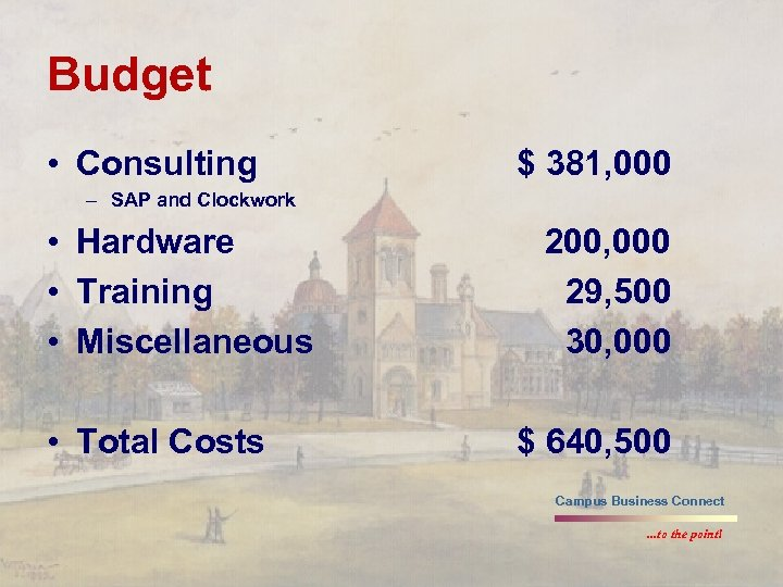 Budget • Consulting $ 381, 000 – SAP and Clockwork • Hardware • Training