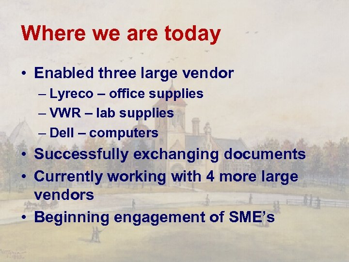 Where we are today • Enabled three large vendor – Lyreco – office supplies