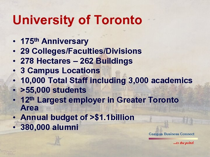 University of Toronto • • 175 th Anniversary 29 Colleges/Faculties/Divisions 278 Hectares – 262
