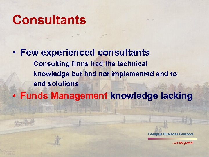 Consultants • Few experienced consultants Consulting firms had the technical knowledge but had not