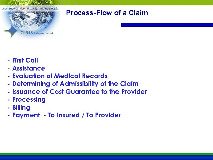 Process-Flow of a Claim - First Call - Assistance - Evaluation of Medical Records