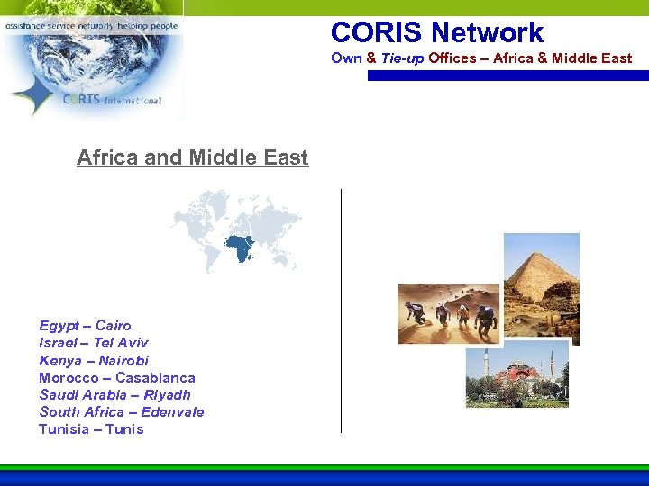 CORIS Network Own & Tie-up Offices – Africa & Middle East Africa and Middle