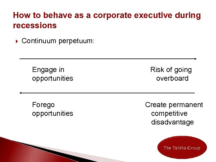 How to behave as a corporate executive during recessions Continuum perpetuum: Engage in opportunities