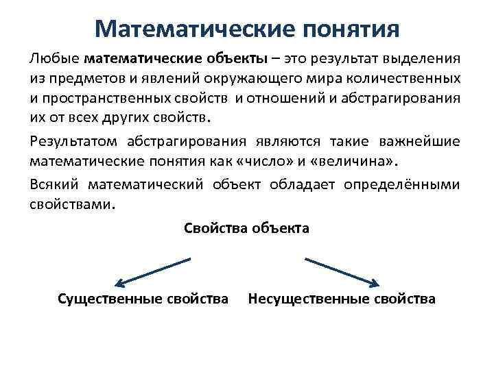 Математические понятия Любые математические объекты – это результат выделения из предметов и явлений окружающего