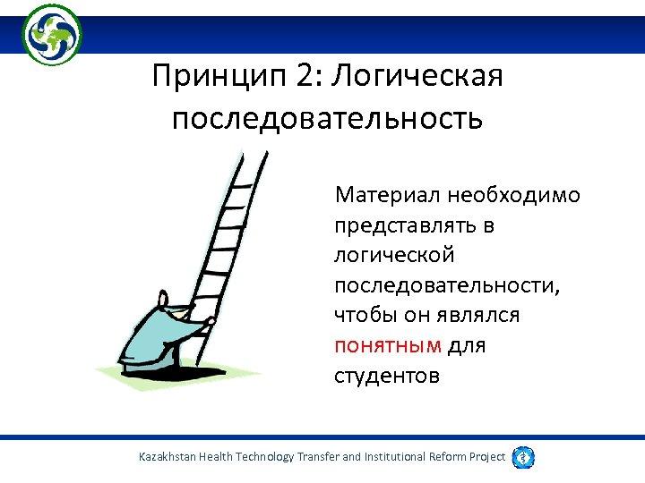 Принцип 2: Логическая последовательность Материал необходимо представлять в логической последовательности, чтобы он являлся понятным
