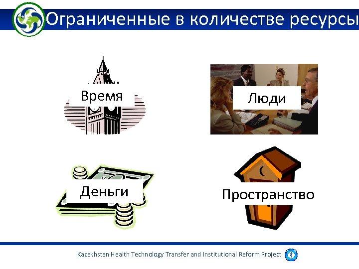 Ограниченные в количестве ресурсы Время Люди Деньги Пространство Kazakhstan Health Technology Transfer and Institutional