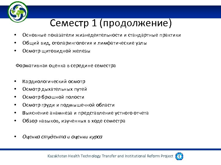 Семестр 1 (продолжение) • • • Основные показатели жизнедеятельности и стандартные практики Общий вид,