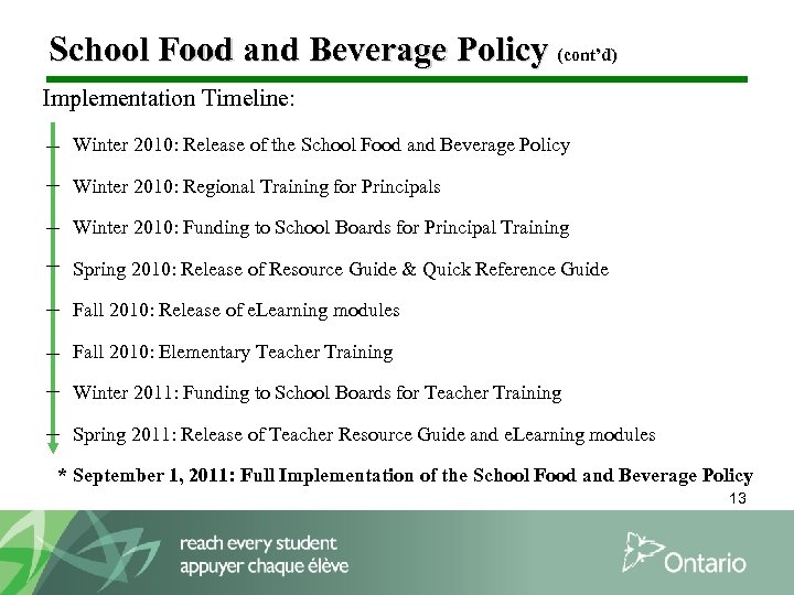 School Food and Beverage Policy (cont'd) Implementation Timeline: Winter 2010: Release of the School
