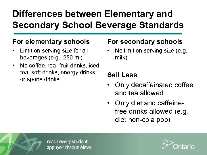 Differences between Elementary and Secondary School Beverage Standards For elementary schools For secondary schools