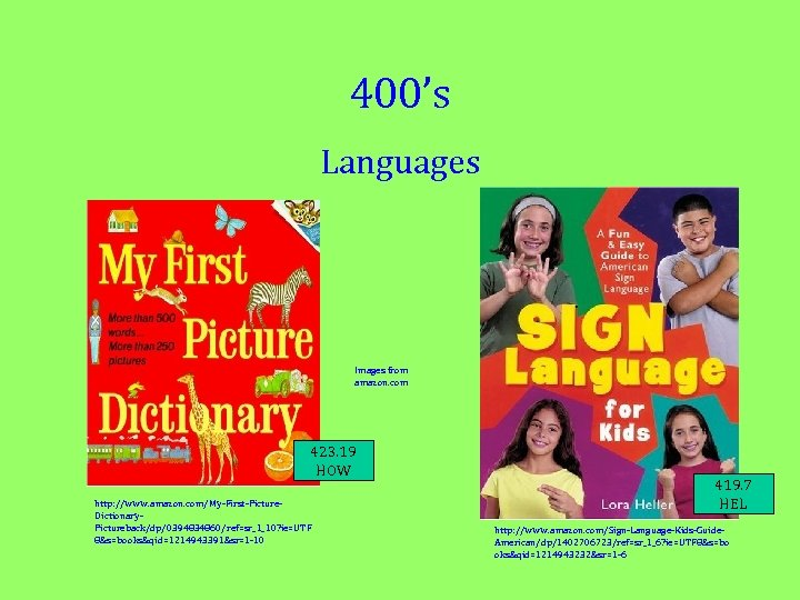 400's Languages Images from amazon. com 423. 19 HOW http: //www. amazon. com/My-First-Picture. Dictionary.
