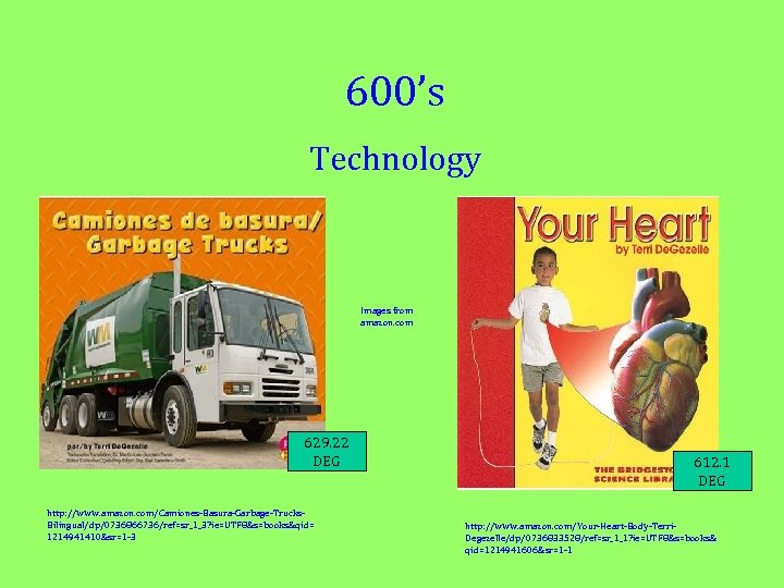 600's Technology Images from amazon. com 629. 22 DEG http: //www. amazon. com/Camiones-Basura-Garbage-Trucks. Bilingual/dp/0736866736/ref=sr_1_3?