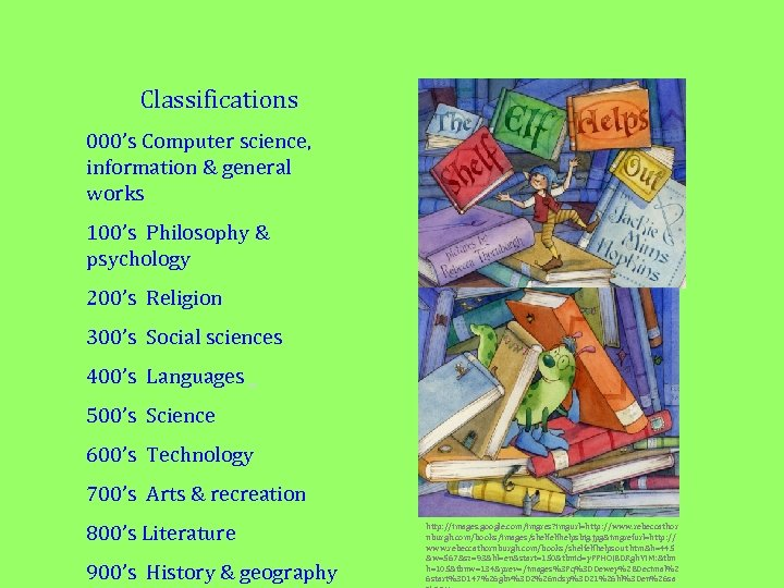Classifications 000's Computer science, information & general works 100's Philosophy & psychology 200's Religion