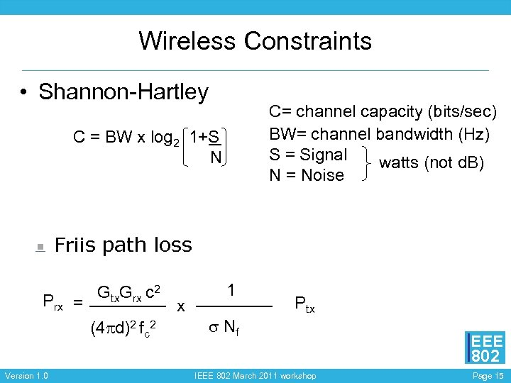 Wireless Constraints • Shannon-Hartley C= channel capacity (bits/sec) BW= channel bandwidth (Hz) S =