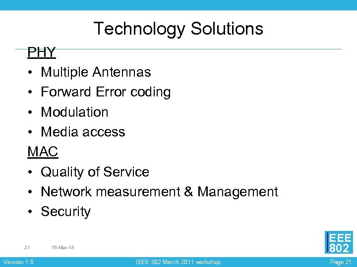 Technology Solutions PHY • Multiple Antennas • Forward Error coding • Modulation • Media