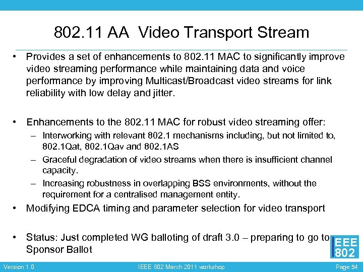 802. 11 AA Video Transport Stream • Provides a set of enhancements to 802.