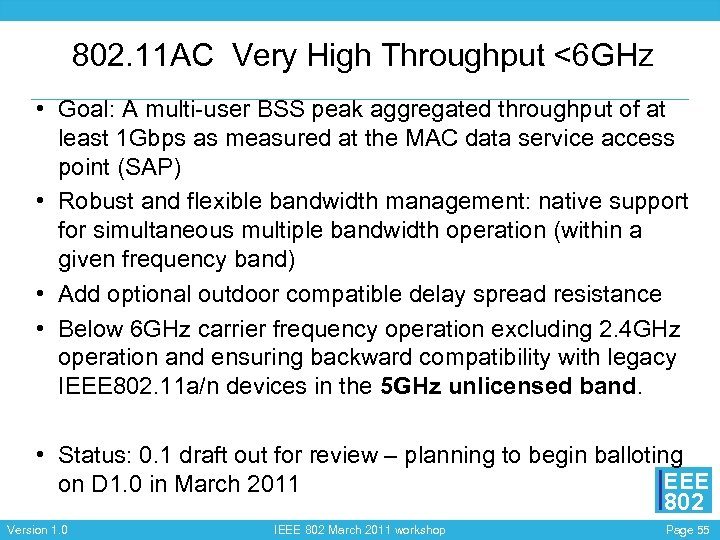 802. 11 AC Very High Throughput <6 GHz • Goal: A multi-user BSS peak