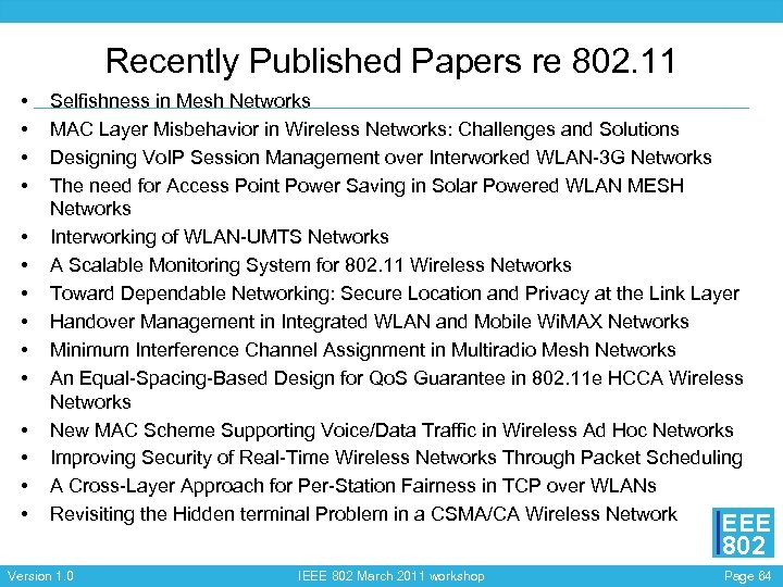 Recently Published Papers re 802. 11 • • • • Selfishness in Mesh Networks