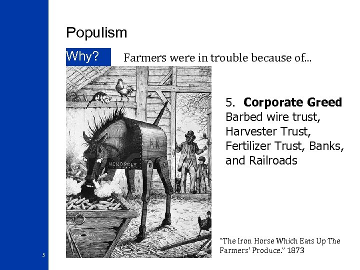 Populism Why? Farmers were in trouble because of. . . 5. Corporate Greed Barbed