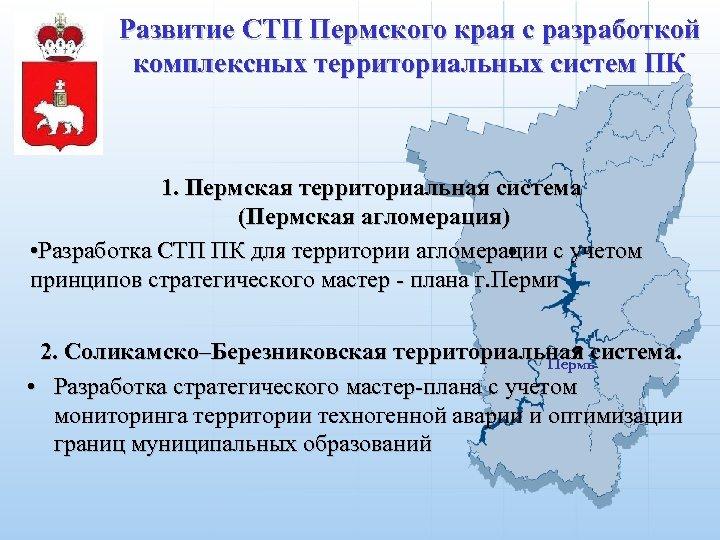 Развитие СТП Пермского края с разработкой комплексных территориальных систем ПК 1. Пермская территориальная система