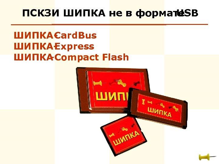 ПСКЗИ ШИПКА не в формате USB ШИПКА- ard. Bus C ШИПКАExpress ШИПКА -Compact Flash