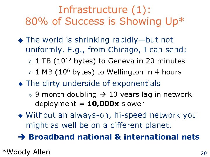 Infrastructure (1): 80% of Success is Showing Up* u The world is shrinking rapidly—but