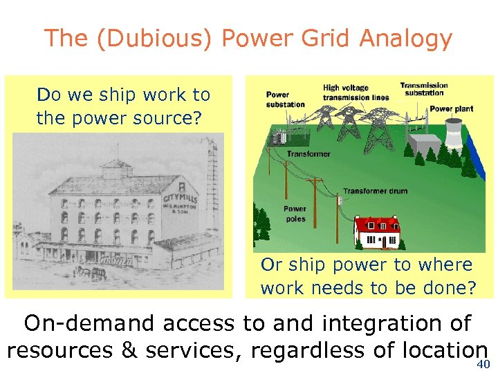 The (Dubious) Power Grid Analogy Do we ship work to the power source? Or