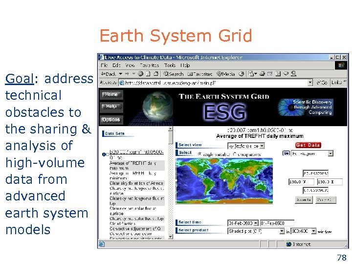Earth System Grid Goal: address technical obstacles to the sharing & analysis of high-volume
